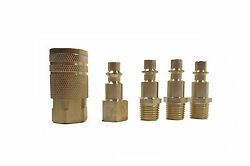 5 Pc 1 4quot; NPT Brass Air Couplers With Adapter Quick Disconnect Air Hose Fittings $5.00