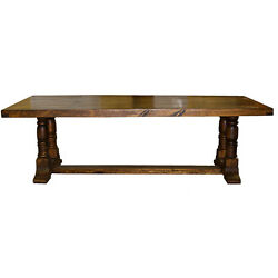 12' Laguna Pedestal Lacquered Table Real Solid Wood Rustic Western Cabin Lodge