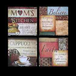 Urbanest Italian Bistro Framed Kitchen Home Wall Plaque DecorSet of 4 2 Styles $15.99