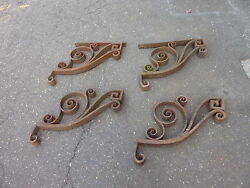 c1890-95 CAST iron BALCONY stair bracket corbels FANCY SCROLL WORK 22 x 22 x 2