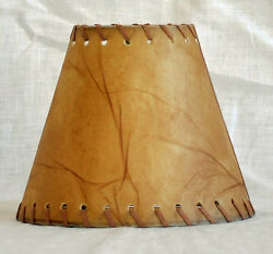 Urbanest Faux Leather Chandelier Lamp Shade HardbackLeather Laced Trim 3x6