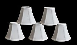 Urbanest Chandelier Mini Lamp Shades5quot;Bell SilkWhite w Double TrimSet of 5 $25.99