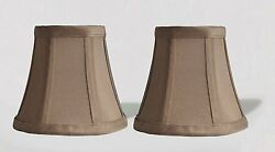 Urbanest Chandelier Mini Lamp Shades5quot;Bell SilkTaupe w Double TrimSet of 2 $15.49