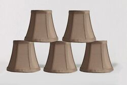 Urbanest Chandelier Mini Lamp Shades5quot;Bell SilkTaupe w Double TrimSet of 5 $27.99