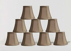 Urbanest Chandelier Mini Lamp Shades5quot;Bell SilkTaupe w Double TrimSet of 9 $48.98