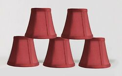 Urbanest Chandelier Mini Lamp Shades5quot;Bell Silk Burgundy Double TrimSet of 5 $25.99