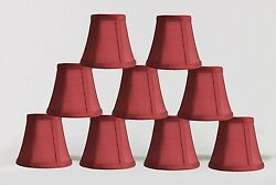 Urbanest Chandelier Mini Lamp Shades5quot;Bell Silk Burgundy Double TrimSet of 9 $50.99