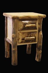 Log Nightstand with 2 Drawers Country Western Rustic Cabin Wood Furniture Decor