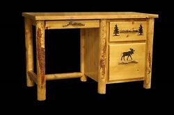 Country Student Desk - Rustic Western Cabin Log Wood Office Furniture Decor