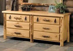 Custom Rustic Country Western 6 Drawer Dresser Cabin Log Bedroom Furniture Decor