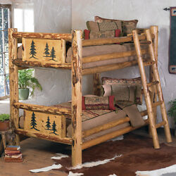 Rustic Bunkbed Frame - Country Western Cabin Log Wood Bedroom Furniture Decor