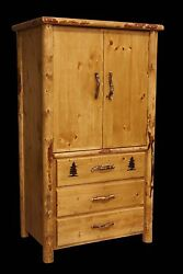 Rustic Armoire - 3 Drawer Country Western Cabin Log Bedroom Furniture Decor