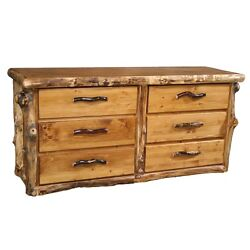 Log Dresser 6 Drawer - Country Western Rustic Cabin Dresser Bedroom Furniture