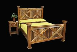 Bed Frame & Nightstand - Country Rustic Cabin Log Wood Bedroom Furniture Decor