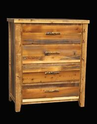 Western 4 Drawer Dresser - Country Rustic Cabin Log Wood Bedroom Furniture Decor