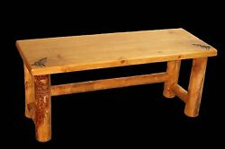 Custom Rustic Bed Bench - Country Western Cabin Log Bedroom Furniture Decor