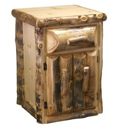Log Nightstand with Door & Drawer Country Western Rustic Bedroom Furniture Decor