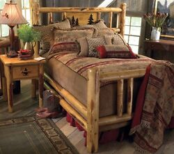 Custom Rustic Bed Frame - Country Western Bedroom Cabin Log Wood Furniture Decor