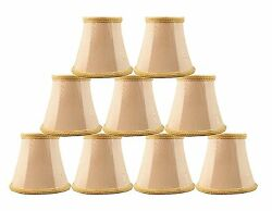 Urbanest Chandelier Mini Lamp Shades5quot; Bell SilkTaupe w Braid TrimSet of 9 $48.98