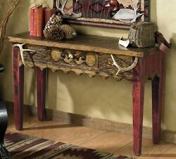 Custom Western Rustic Sofa Table with Antlers Cabin Log Living Room Furniture