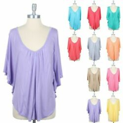 Junior Plus Size V Neck and V Shaped Lace Back Batwing Dolman Top 1XL 2XL 3XL $12.99
