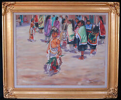 "Oil Painting ""Children at Indian Pow Wow"" by Ron Rencher"