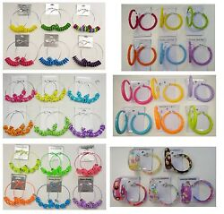 A 50 Wholesale Jewelry lot 10 pairs Colorful Fashion Hoop Earrings