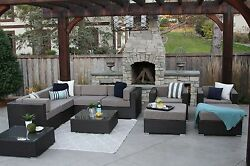 11PC All Weather Patio Set Modern Outdoor Sectional Sofa Furniture Rattan Wicker