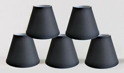 Urbanest Satin Hardback Chandelier Mini Lamp Shades 3quot;x 6quot;x 5quot;Black Set of 5 $24.69