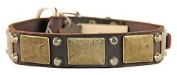 Dean and Tyler THE ANTIQUE Leather Dog Collar Solid Brass Brown Size 24 1-12