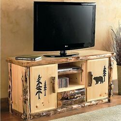 Log TV Console Stand - Country Western Rustic Cabin Wood Table Living Room Decor