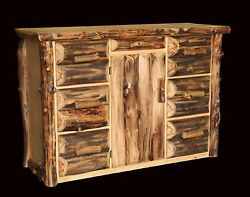 Rustic Log Office ConsoleBuffet - Western Country Cabin Wood Furniture Decor