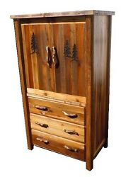 Custom Country Armoire - Western Rustic Cabin Log Wood Bedroom Furniture Decor