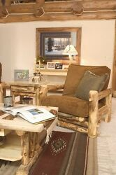 Rustic Easy Chair - Country Western Cabin Wood Living Room Furniture Decor