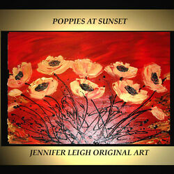 ORIGINAL LARGE ABSTRACT CONTEMPORARY MODERN ART PAINTING Poppies 36x24quot; JLEIGH $379.00