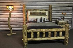 Rustic Log Gun Bed Frame - Country Western Bedroom Cabin Log Wood Furniture