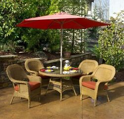 5 Piece Outdoor All Weather Patio Furniture Mojave Resin Wicker Dining Set