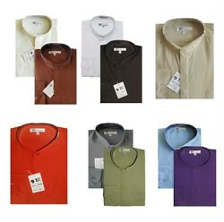 Mens Dress Shirt Mandarin Collar Hidden Button Style SG01 $13.99