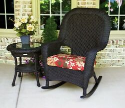 Outdoor Patio Garden Furniture Tortoise Resin Wicker Rocking Chair and Table Set