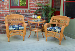 3 Piece Outdoor Patio Garden Amber Resin Wicker Bistro Set with Fabric Choice