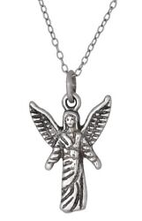 Archangel Chamuel Sterling Silver Charm Angel of Peaceful Relationships Oxidize $14.99