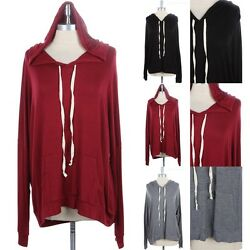 Junior Plus Size Long Sleeve Hooded Top with Kangaroo Pocket Rayon 1XL 2XL 3XL $20.99