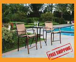 BAR HEIGHT BISTRO SET 3PC TABLE CHAIR PATIO FURNITURE OUTDOOR BACKYARD POOL DECK