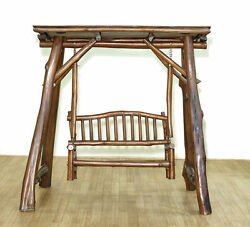 Rustic Weathered Natural Solid Teak Log Style Bench Swing Set