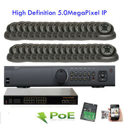 HD 32Channel NVR 5MP 2592x1920 Dome Outdoor PoE IP ONVIF IP66 48IR Camera System