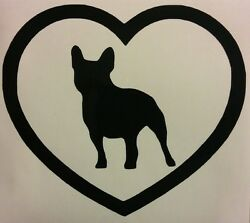 FRENCH BULLDOG HEART VINYL DECAL STICKER DOG BREED CHOOSE COLOR SIZE