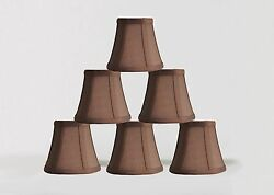 Urbanest Chandelier Lamp Shades5quot;Bell SilkEspresso w Double TrimSet of 6 $32.99