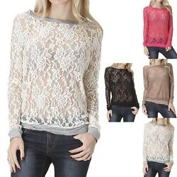 Full Floral Lace Long Sleeve Sweater Top Round Neck Unique Stylish Nylon S M L $15.99
