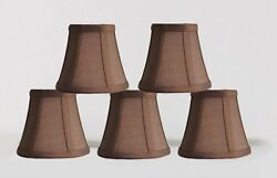 Urbanest Chandelier Lamp Shades5quot;Bell SilkEspresso w Double TrimSet of 5 $25.78