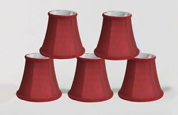 Urbanest Chandelier Mini Lamp Shades5quot;Bell SilkBurgundy Braid TrimSet of 5 $27.99